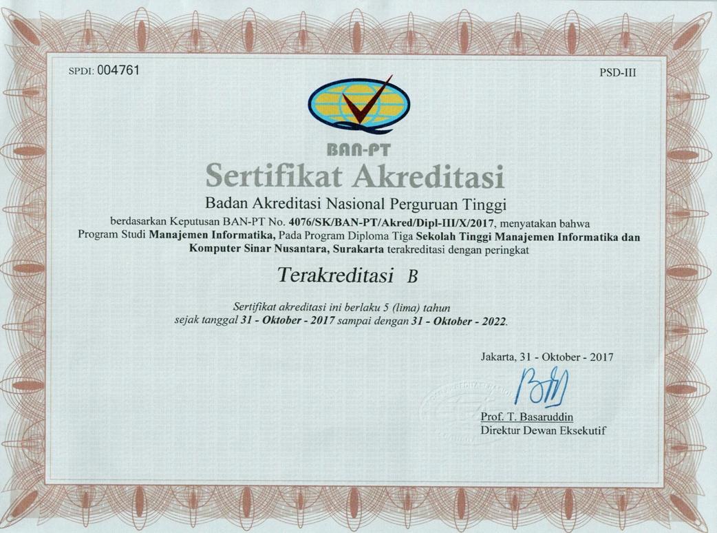 Sertifikat Akreditasi MI-D3