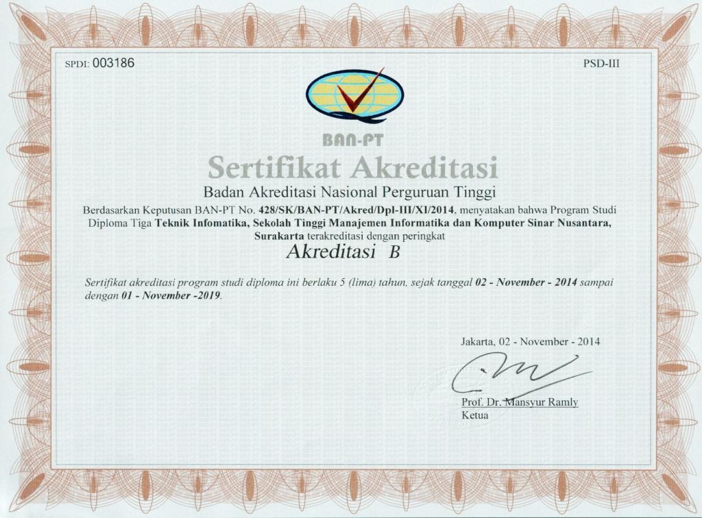 Sertifikat akreditasi TI-D3 STMIK Sinus