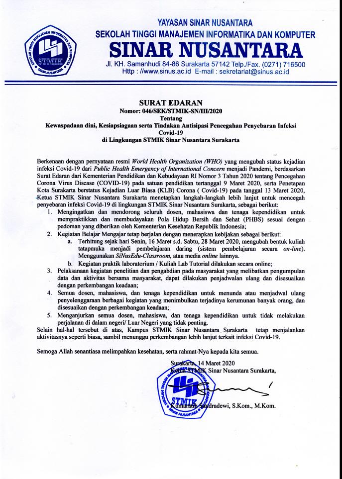Surat Edaran Antisipasi Virus Corona