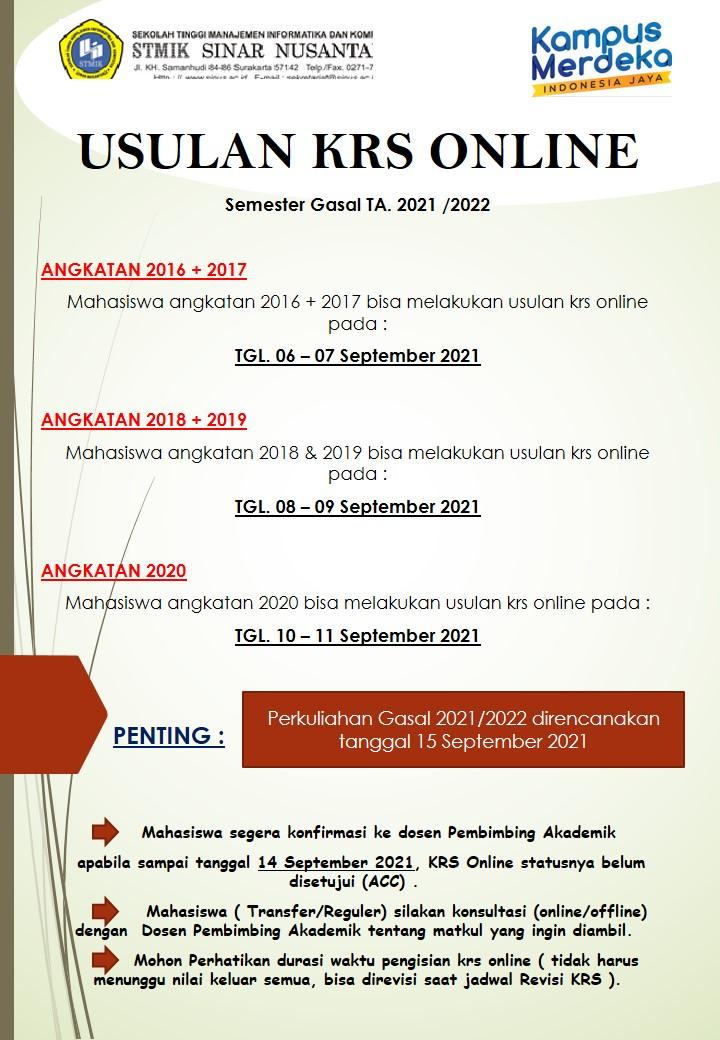 info krs online gasal 2021/2022