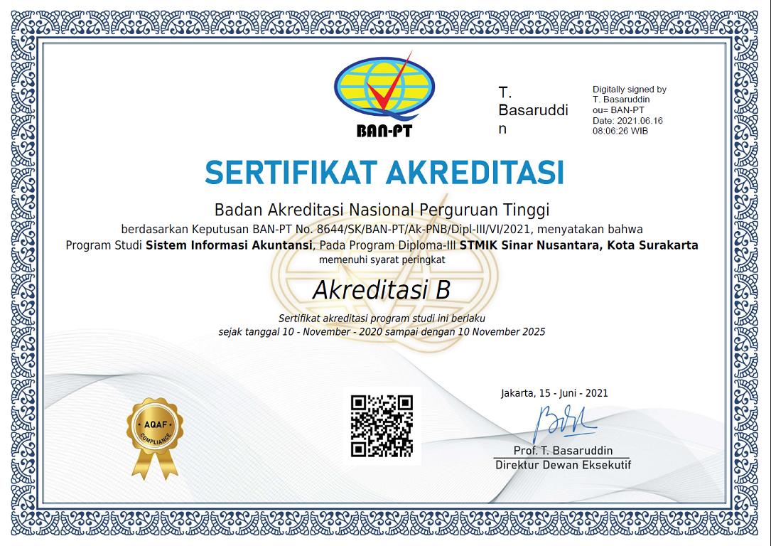 Sertifikasi Akreditasi KA-D3 STMIK Sinus